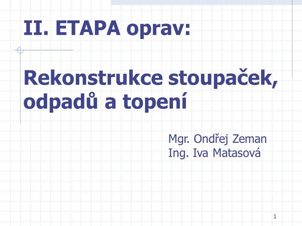 1 II. ETAPA oprav: Rekonstrukce stoupaček, odpadů a topení Mgr. Ondřej Zeman Ing. Iva Matasová