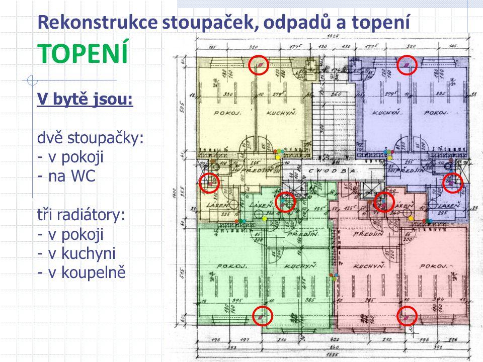 Rekonstrukce stoupaček, odpadů a topení 12 TOPENÍ V bytě jsou: dvě stoupačky: - v pokoji - na WC tři radiátory: - v pokoji - v kuchyni - v koupelně