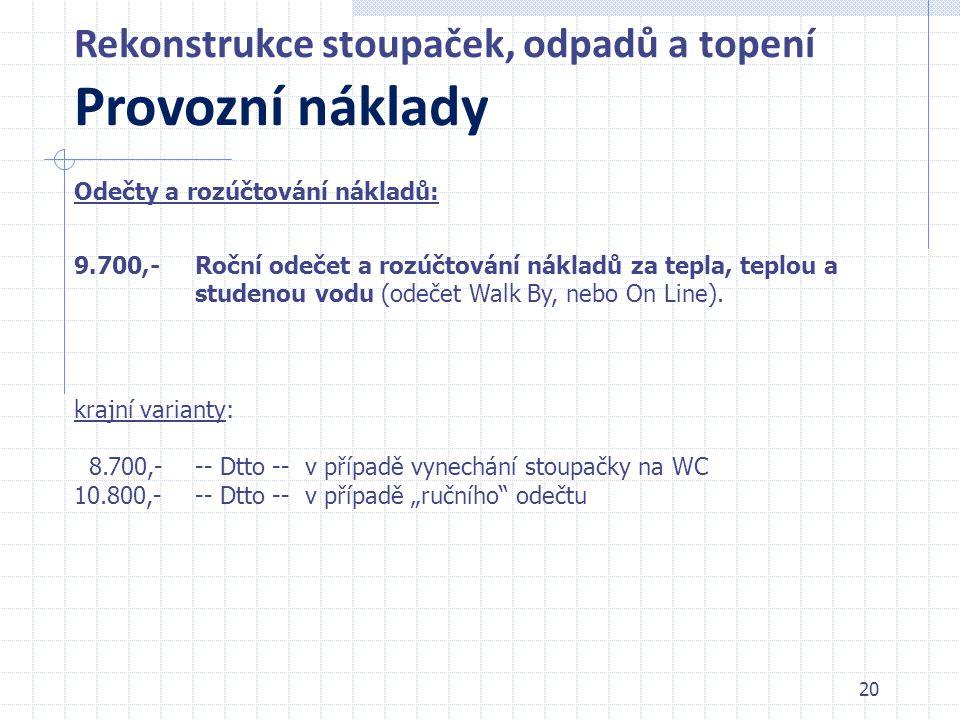20 Rekonstrukce stoupaček, odpadů a topení Provozní náklady 9.700,- krajní varianty: 8.700,- 10.800,- Roční odečet a rozúčtování nákladů za tepla, tep