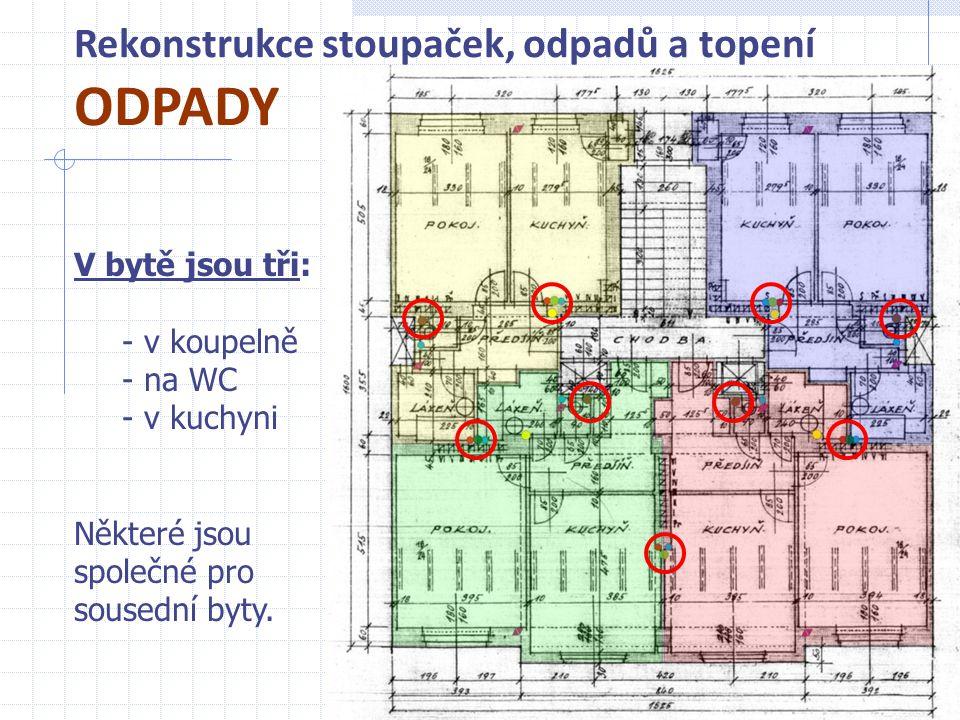 Rekonstrukce stoupaček, odpadů a topení ODPADY 4 V bytě jsou tři: - v koupelně - na WC - v kuchyni Některé jsou společné pro sousední byty.
