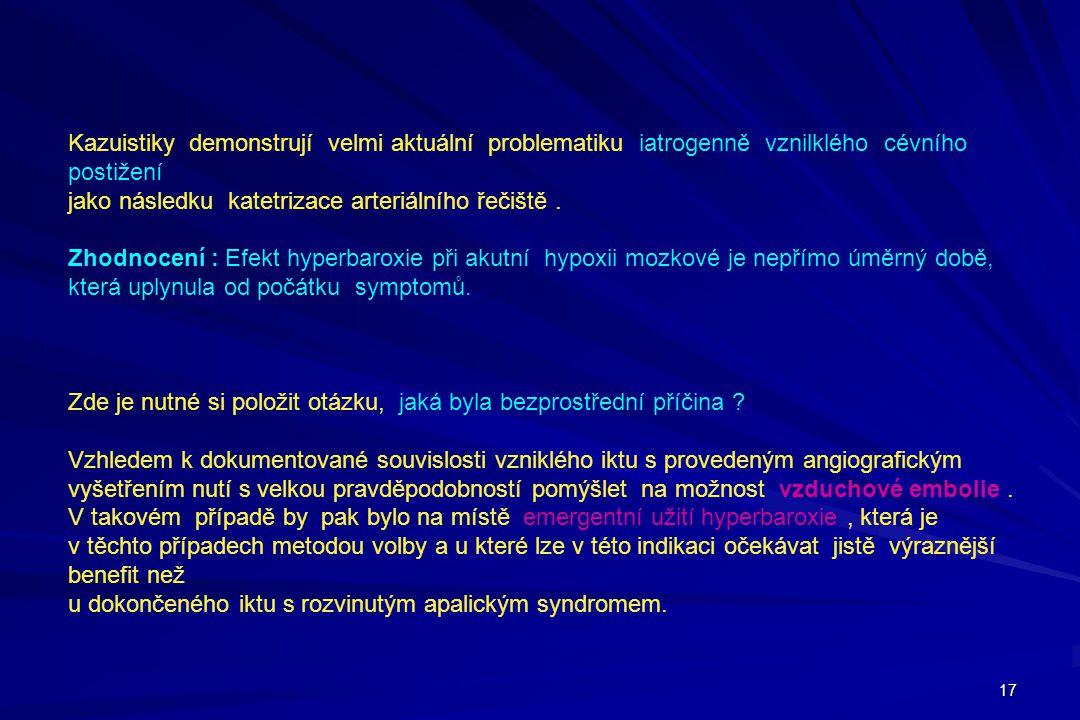 17 Kazuistiky demonstrují velmi aktuální problematiku iatrogenně vznilklého cévního postižení jako následku katetrizace arteriálního řečiště. Zhodnoce