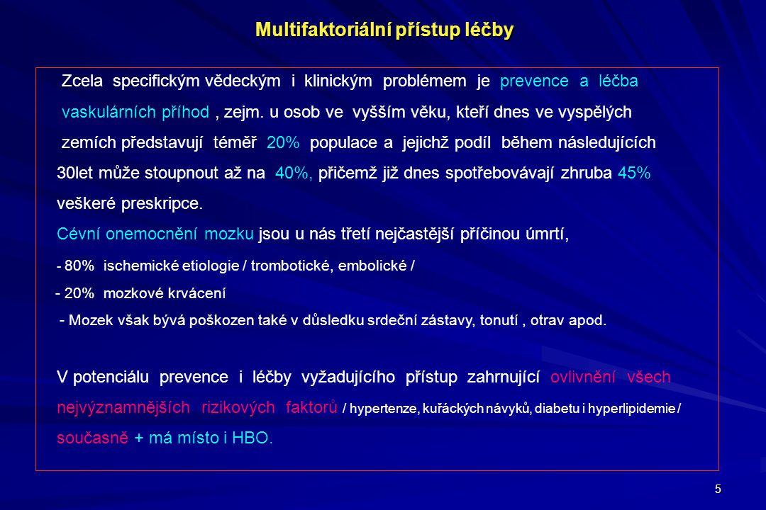 5 Multifaktoriální přístup léčby Zcela specifickým vědeckým i klinickým problémem je prevence a léčba vaskulárních příhod, zejm. u osob ve vyšším věku
