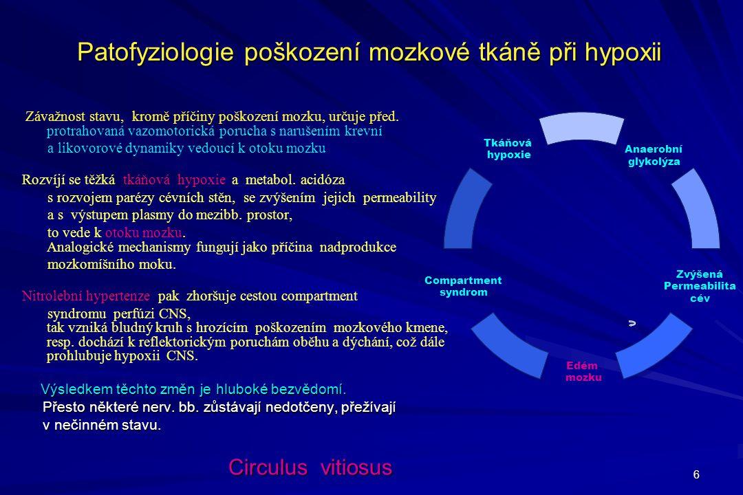 6 Patofyziologie poškození mozkové tkáně při hypoxii Závažnost stavu, kromě příčiny poškození mozku, určuje před. protrahovaná vazomotorická porucha s
