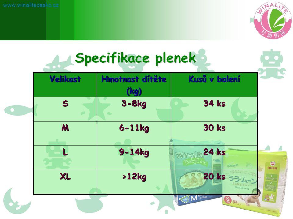 Velikost Hmotnost dítěte (kg) Kusů v balení S3-8kg 34 ks M6-11kg 30 ks L9-14kg 24 ks XL>12kg 20 ks Specifikace plenek www.winalitecesko.cz