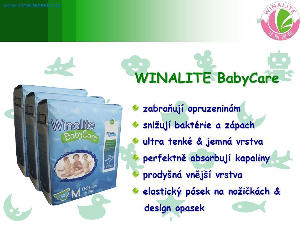 Extrakt z čajových semen Winalite Babycare obsahují výtažky z čajových Winalite Babycare obsahují výtažky z čajových semen a rostlinné esence, které pomáhají semen a rostlinné esence, které pomáhají předcházet vyrážkám a udržují dětskou předcházet vyrážkám a udržují dětskou pokožku zdravou.