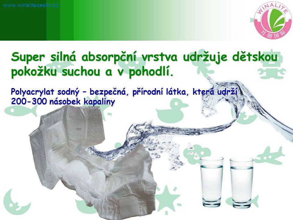 Super silná absorpční vrstva udržuje dětskou pokožku suchou a v pohodlí. Polyacrylat sodný – bezpečná, přírodní látka, která udrží 200-300 násobek kap