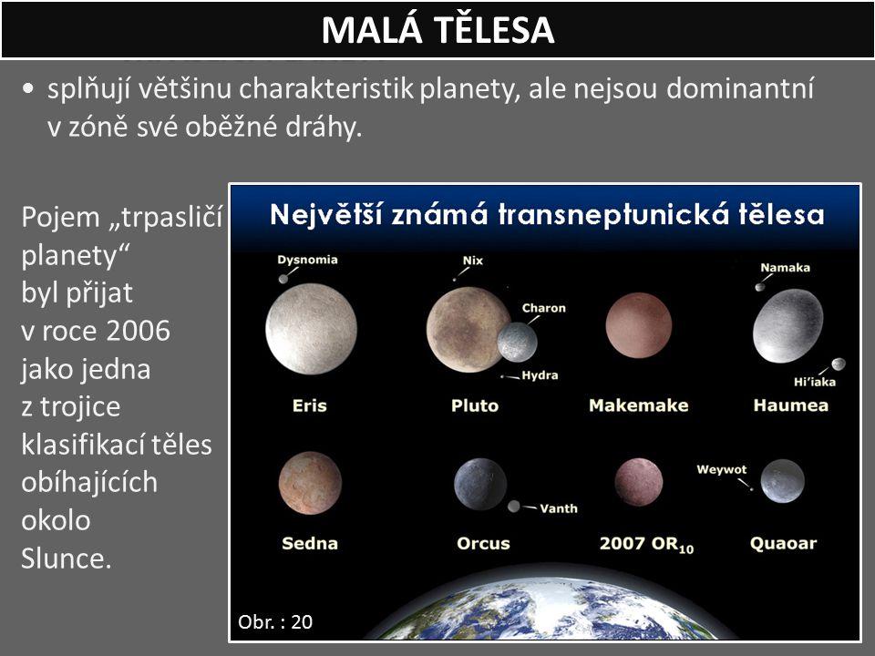 """TRPASLIČÍ PLANETY splňují většinu charakteristik planety, ale nejsou dominantní v zóně své oběžné dráhy. Pojem """"trpasličí planety"""" byl přijat v roce 2"""