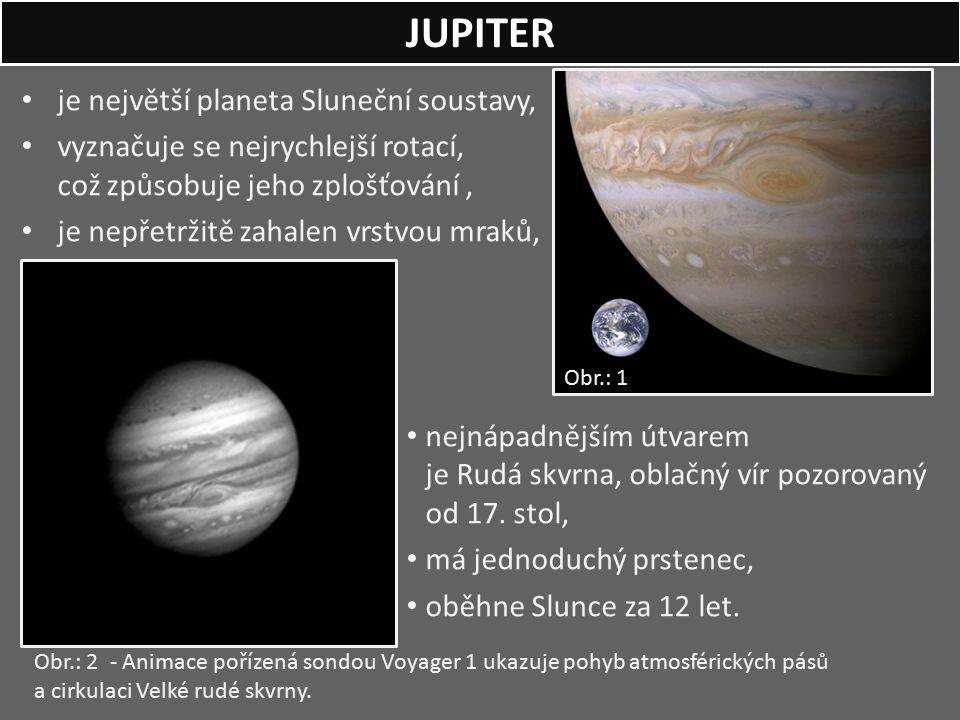 je největší planeta Sluneční soustavy, vyznačuje se nejrychlejší rotací, což způsobuje jeho zplošťování, je nepřetržitě zahalen vrstvou mraků, nejnápa