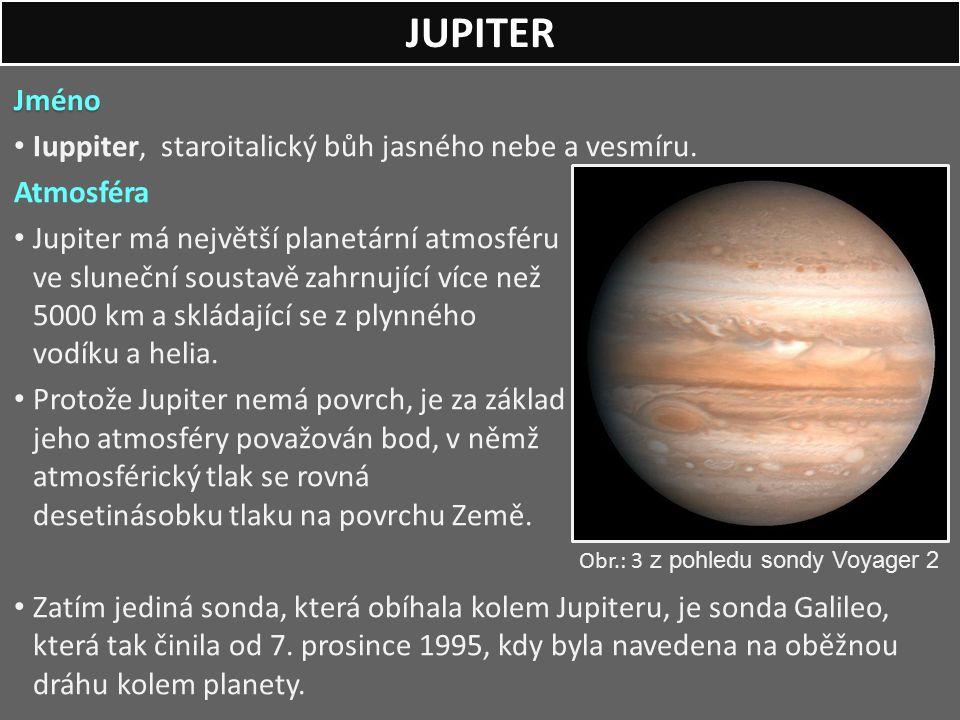 Jméno Iuppiter, staroitalický bůh jasného nebe a vesmíru. Atmosféra Jupiter má největší planetární atmosféru ve sluneční soustavě zahrnující více než