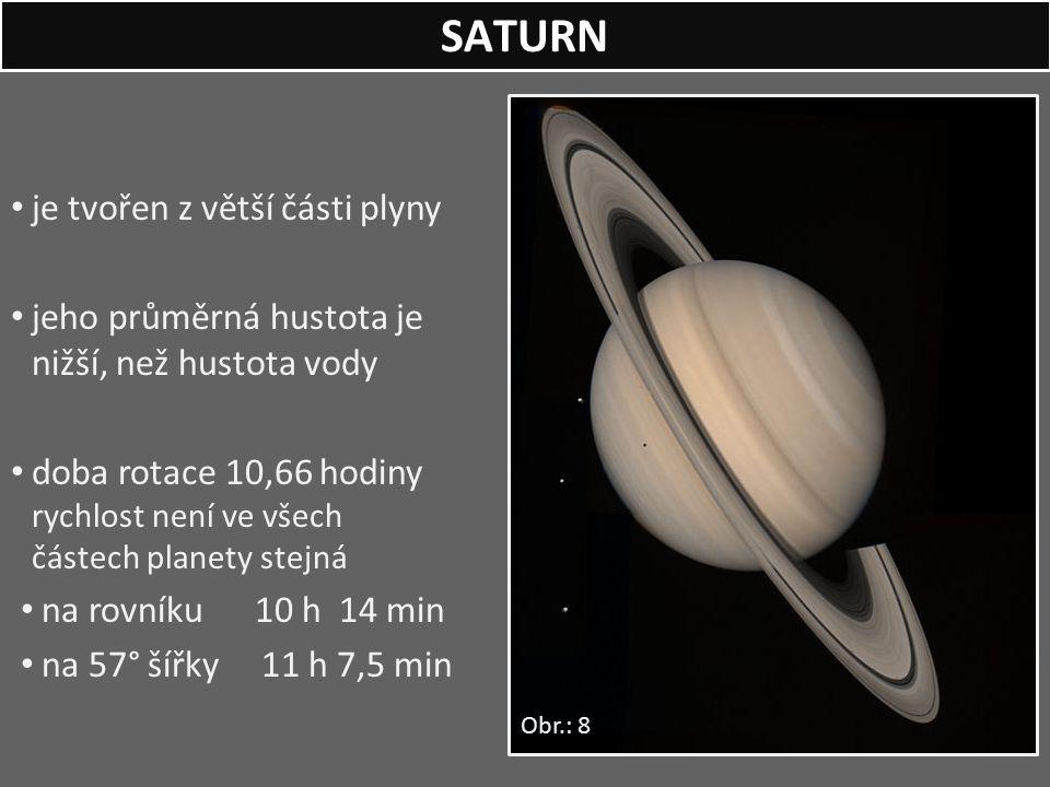 je tvořen z větší části plyny jeho průměrná hustota je nižší, než hustota vody doba rotace 10,66 hodiny rychlost není ve všech částech planety stejná