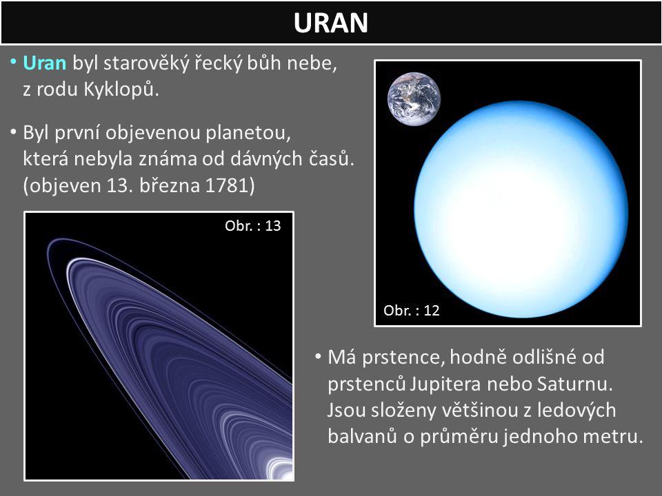 Uran byl starověký řecký bůh nebe, z rodu Kyklopů. Byl první objevenou planetou, která nebyla známa od dávných časů. (objeven 13. března 1781) Má prst