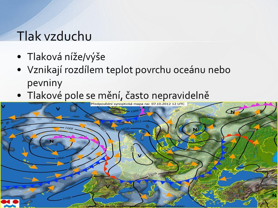 → Vzniká přílivem teplého vzduchu → Nepřináší srážky → Subtropické oblasti → ve směru hodinových ručiček → Ohřátý vzduch stoupá vzhůru → Deštivé počasí → Oblast rovníku → Do středu, proti směru hodinových ručiček Tlaková výše (anticyklona) Tlaková níže (cyklóna)