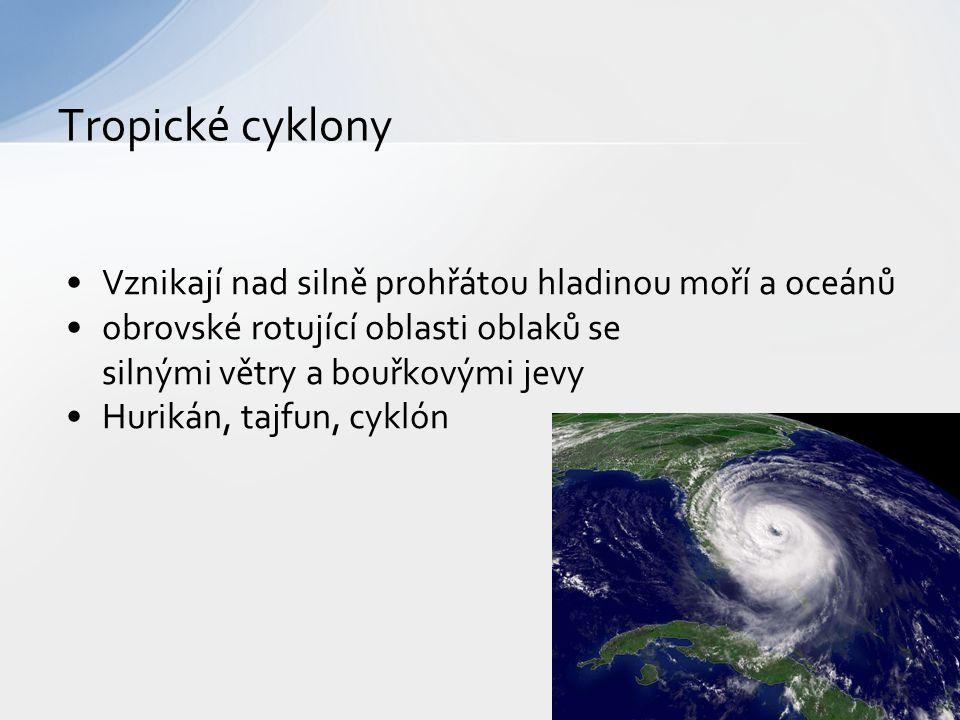 Vznikají nad silně prohřátou hladinou moří a oceánů obrovské rotující oblasti oblaků se silnými větry a bouřkovými jevy Hurikán, tajfun, cyklón Tropic