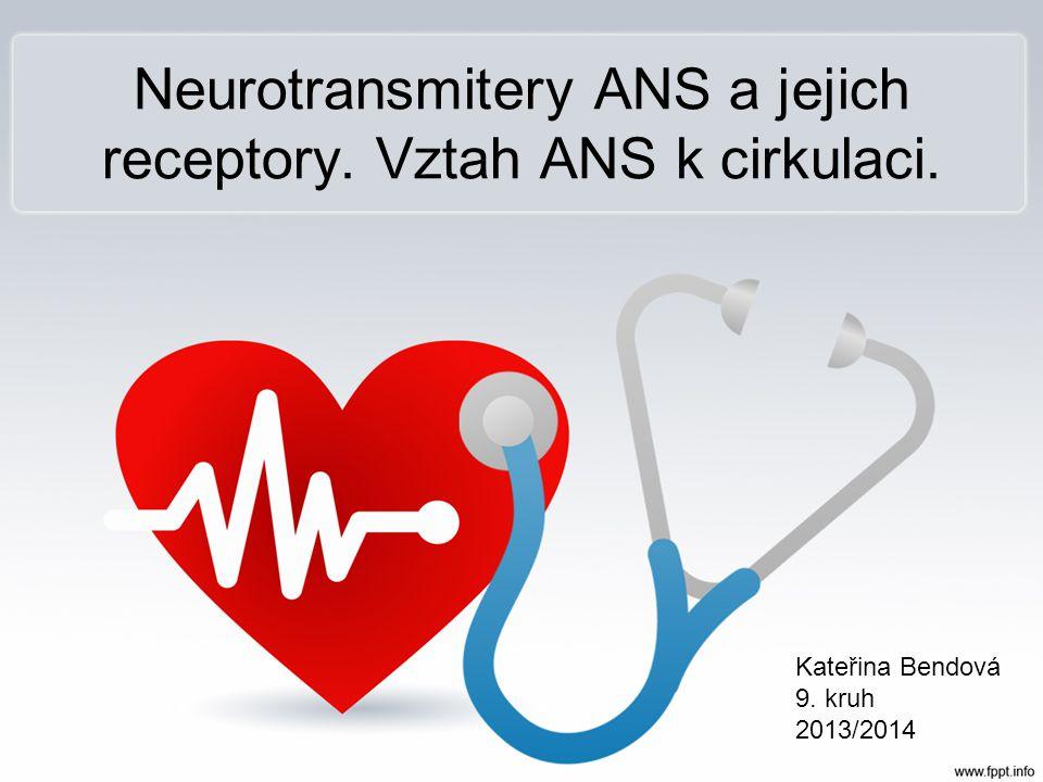Neurotransmitery ANS a jejich receptory. Vztah ANS k cirkulaci. Kateřina Bendová 9. kruh 2013/2014
