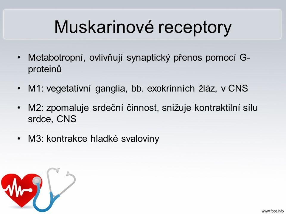Muskarinové receptory Metabotropní, ovlivňují synaptický přenos pomocí G- proteinů M1: vegetativní ganglia, bb. exokrinních žláz, v CNS M2: zpomaluje