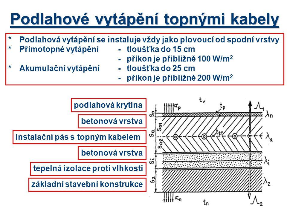 Podlahové vytápění topnými kabely *Podlahová vytápění se instaluje vždy jako plovoucí od spodní vrstvy *Přímotopné vytápění -tloušťka do 15 cm -příkon