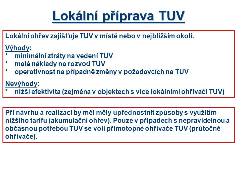 Lokální příprava TUV Lokální ohřev zajišťuje TUV v místě nebo v nejbližším okolí. Výhody: *minimální ztráty na vedení TUV *malé náklady na rozvod TUV