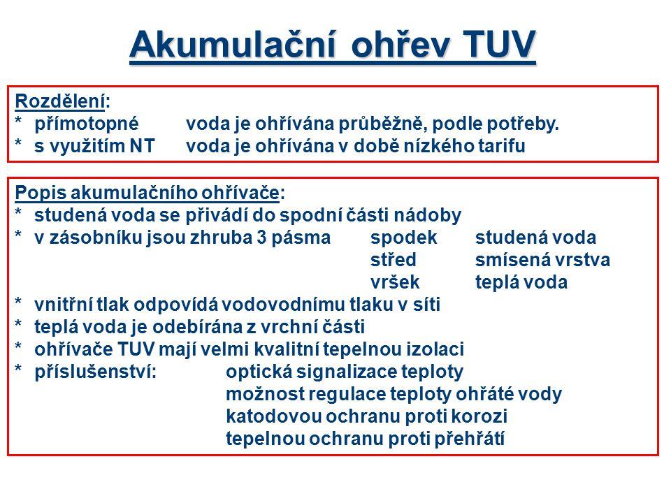 Akumulační ohřev TUV Rozdělení: *přímotopnévoda je ohřívána průběžně, podle potřeby. *s využitím NTvoda je ohřívána v době nízkého tarifu Popis akumul