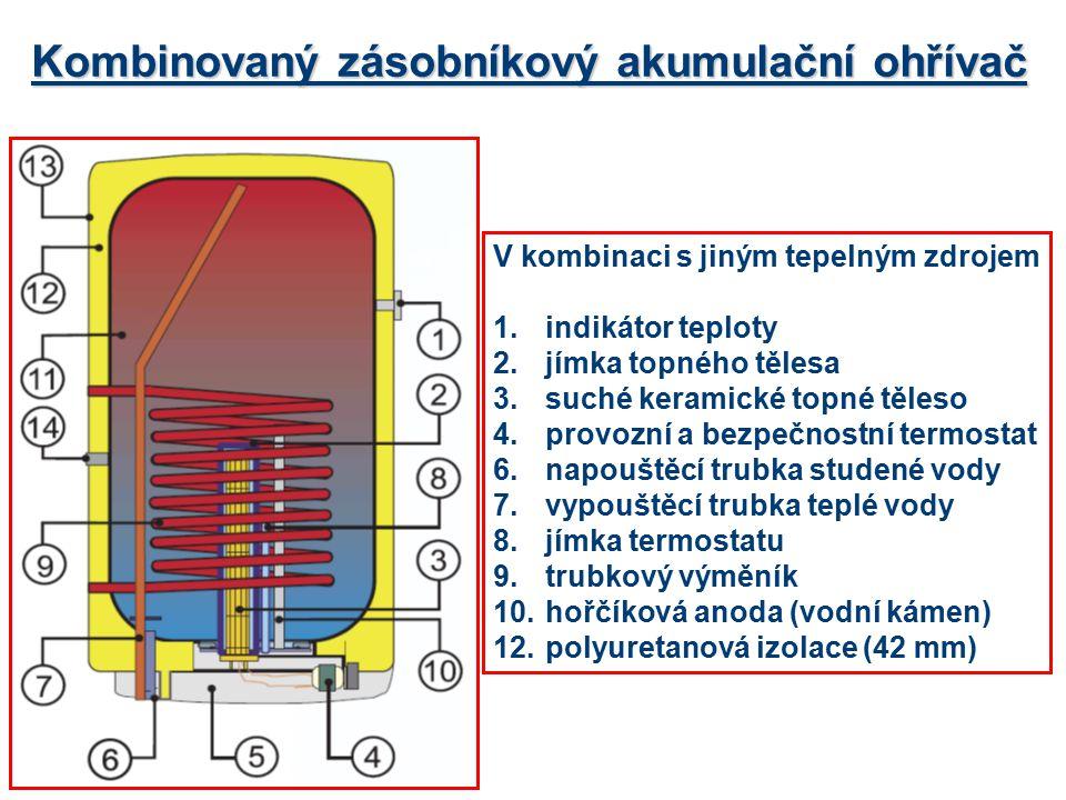 Kombinovaný zásobníkový akumulační ohřívač V kombinaci s jiným tepelným zdrojem 1.indikátor teploty 2.jímka topného tělesa 3.suché keramické topné těl