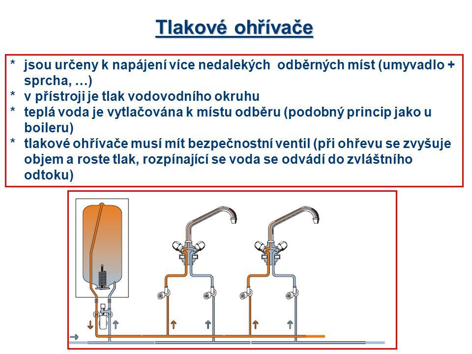 Tlakové ohřívače * jsou určeny k napájení více nedalekých odběrných míst (umyvadlo + sprcha, …) *v přístroji je tlak vodovodního okruhu *teplá voda je