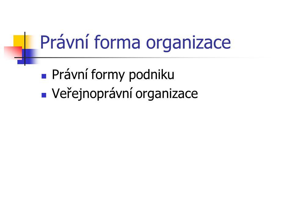 Právní forma organizace Právní formy podniku Veřejnoprávní organizace