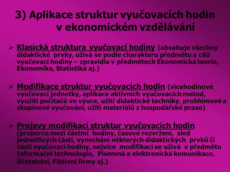 3) Aplikace struktur vyučovacích hodin v ekonomickém vzdělávání  Klasická struktura vyučovací hodiny (obsahuje všechny didaktické prvky, užívá se pod