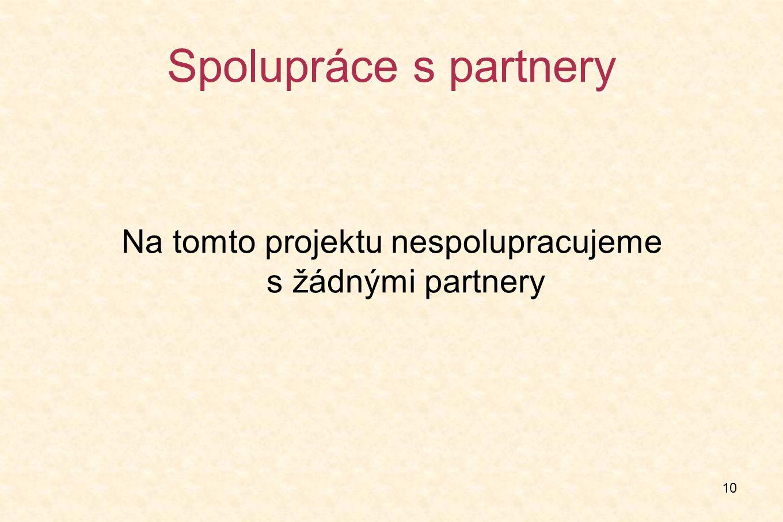 10 Spolupráce s partnery Na tomto projektu nespolupracujeme s žádnými partnery