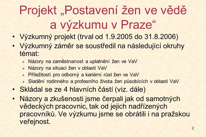 """2 Projekt """"Postavení žen ve vědě a výzkumu v Praze Výzkumný projekt (trval od 1.9.2005 do 31.8.2006) Výzkumný záměr se soustředil na následující okruhy témat:  Názory na zaměstnanost a uplatnění žen ve VaV  Názory na situaci žen v oblasti VaV  Příležitosti pro odborný a kariérní růst žen ve VaV  Sladění rodinného a profesního života žen působících v oblasti VaV Skládal se ze 4 hlavních částí (viz."""