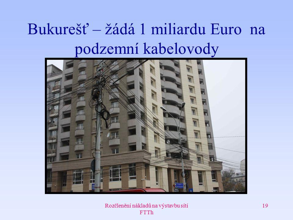 Rozčlenění nákladů na výstavbu sítí FTTh 19 Bukurešť – žádá 1 miliardu Euro na podzemní kabelovody