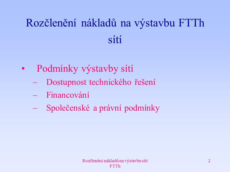 Rozčlenění nákladů na výstavbu sítí FTTh 2 Rozčlenění nákladů na výstavbu FTTh sítí Podmínky výstavby sítí –Dostupnost technického řešení –Financování