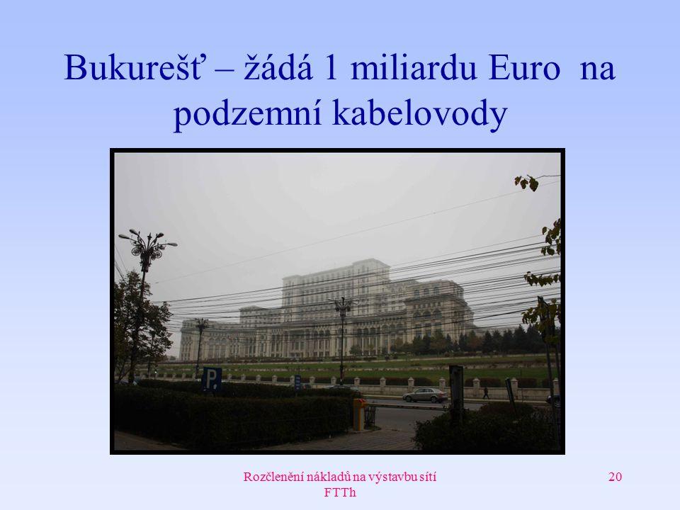 Rozčlenění nákladů na výstavbu sítí FTTh 20 Bukurešť – žádá 1 miliardu Euro na podzemní kabelovody