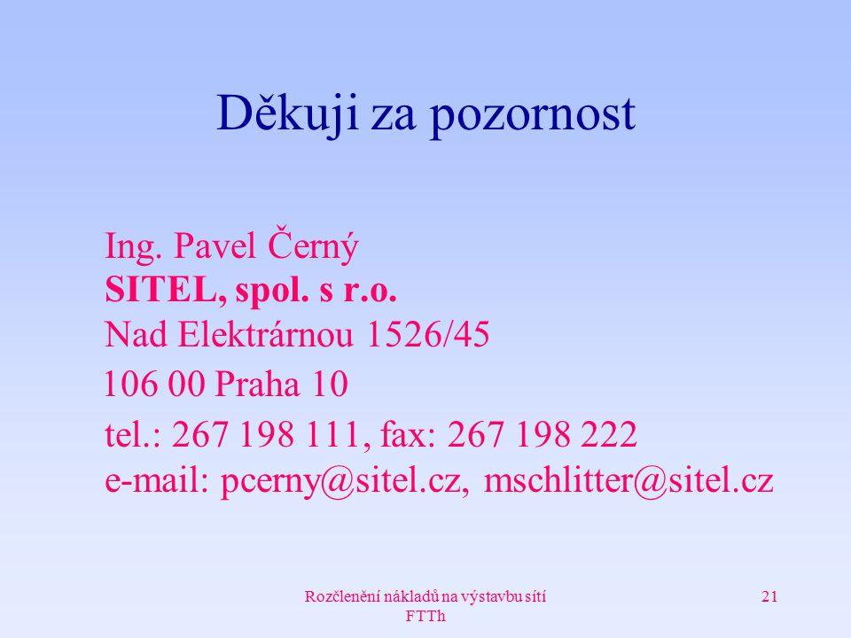 Rozčlenění nákladů na výstavbu sítí FTTh 21 Děkuji za pozornost Ing. Pavel Černý SITEL, spol. s r.o. Nad Elektrárnou 1526/45 106 00 Praha 10 tel.: 267