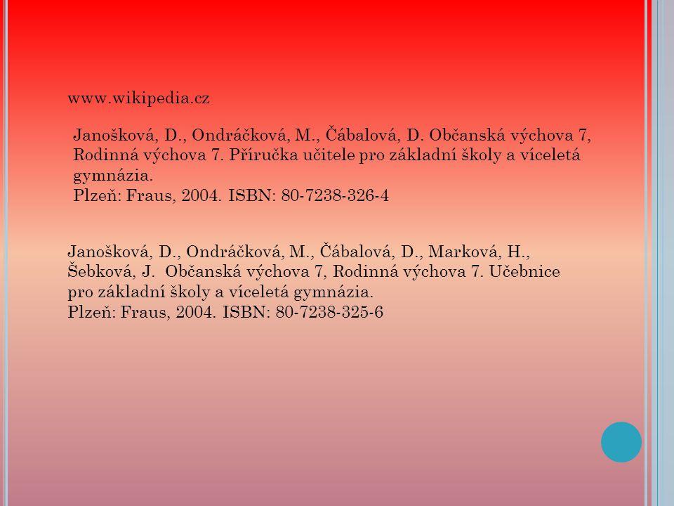 www.wikipedia.cz Janošková, D., Ondráčková, M., Čábalová, D.