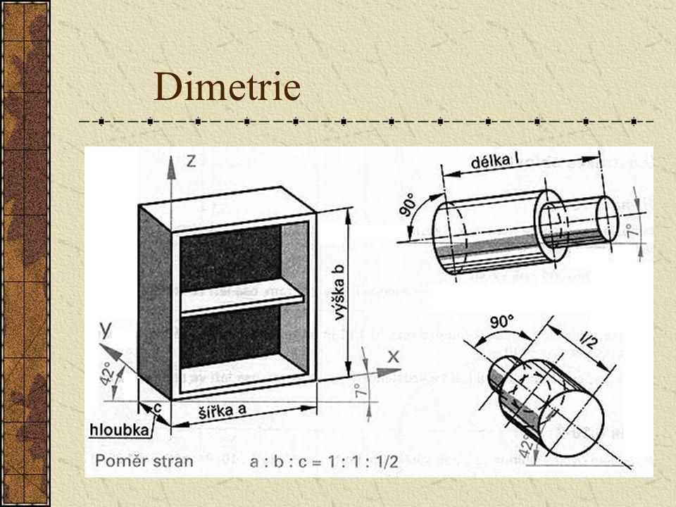 7.2Dimetrie Dimetrické promítání promítání je prostorovým zobrazením, které má ukázat vše podstatné v nárysu. Vodorovné osy x a y svírají úhel 7° a do