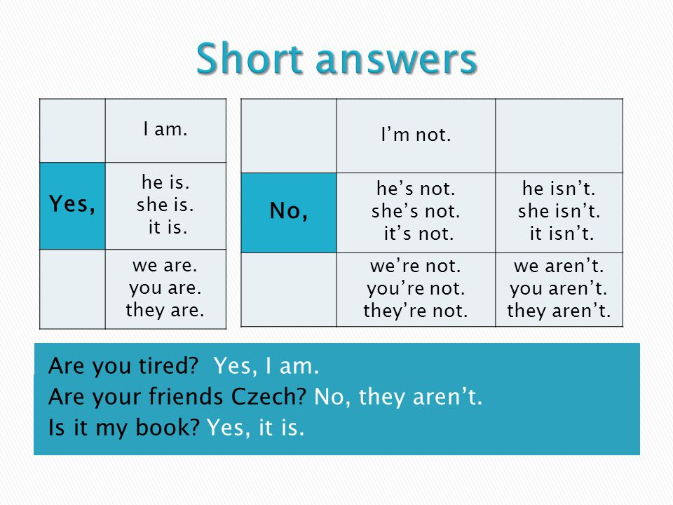 Are you tired. Yes, I am. Are your friends Czech.