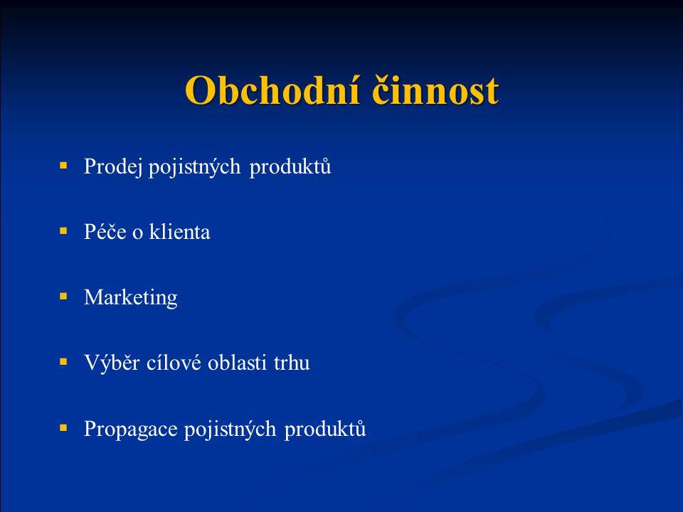 Obchodní činnost  Prodej pojistných produktů  Péče o klienta  Marketing  Výběr cílové oblasti trhu  Propagace pojistných produktů