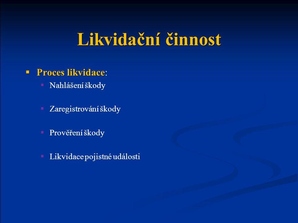 Likvidační činnost  Proces likvidace  Proces likvidace:  Nahlášení škody  Zaregistrování škody  Prověření škody  Likvidace pojistné události