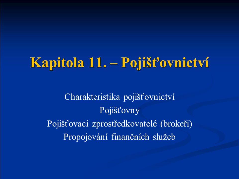 Kapitola 11. – Pojišťovnictví Charakteristika pojišťovnictví Pojišťovny Pojišťovací zprostředkovatelé (brokeři) Propojování finančních služeb