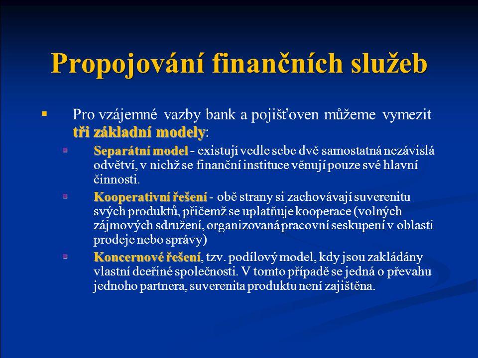 Propojování finančních služeb tři základní modely  Pro vzájemné vazby bank a pojišťoven můžeme vymezit tři základní modely:  Separátní model  Separ