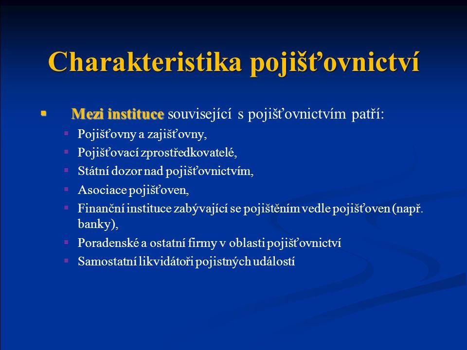 Charakteristika pojišťovnictví  Mezi instituce  Mezi instituce související s pojišťovnictvím patří:  Pojišťovny a zajišťovny,  Pojišťovací zprostř