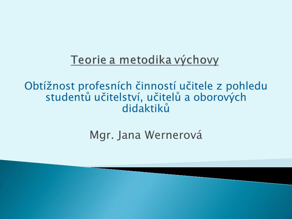 Obtížnost profesních činností učitele z pohledu studentů učitelství, učitelů a oborových didaktiků Mgr.