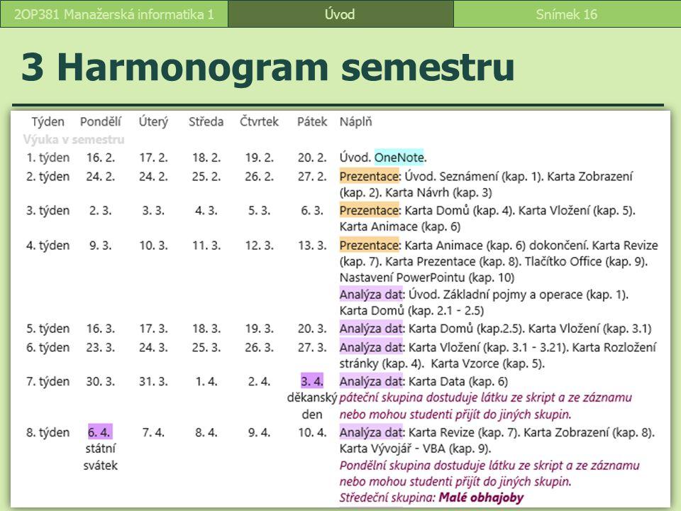 ÚvodSnímek 162OP381 Manažerská informatika 1 3 Harmonogram semestru