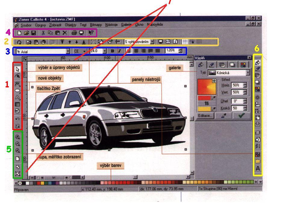PROSTŘEDÍ CALLISTA Uspořádej si jednotlivé panely nástrojů na ploše tak, aby se ti s nimi dobře pracovalo - ideální rozvržení je na obrázku.