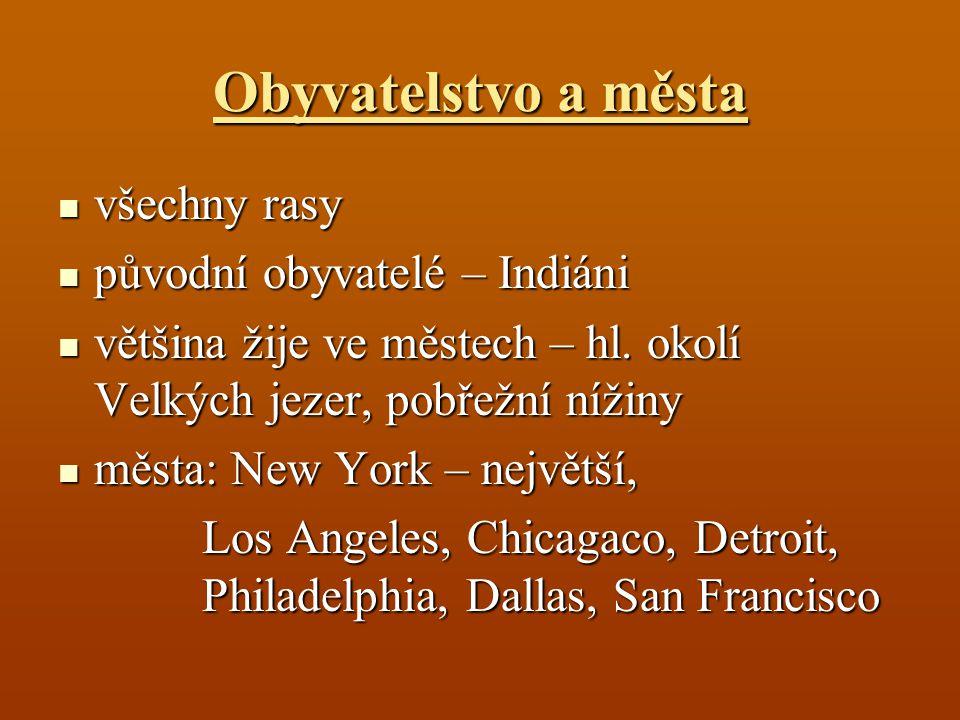 Obyvatelstvo a města všechny rasy všechny rasy původní obyvatelé – Indiáni původní obyvatelé – Indiáni většina žije ve městech – hl. okolí Velkých jez