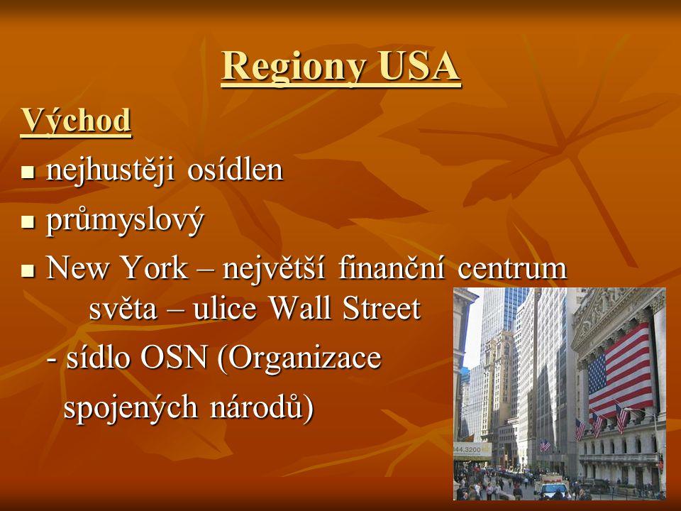 Regiony USA Východ nejhustěji osídlen nejhustěji osídlen průmyslový průmyslový New York – největší finanční centrum světa – ulice Wall Street New York – největší finanční centrum světa – ulice Wall Street - sídlo OSN (Organizace - sídlo OSN (Organizace spojených národů) spojených národů)