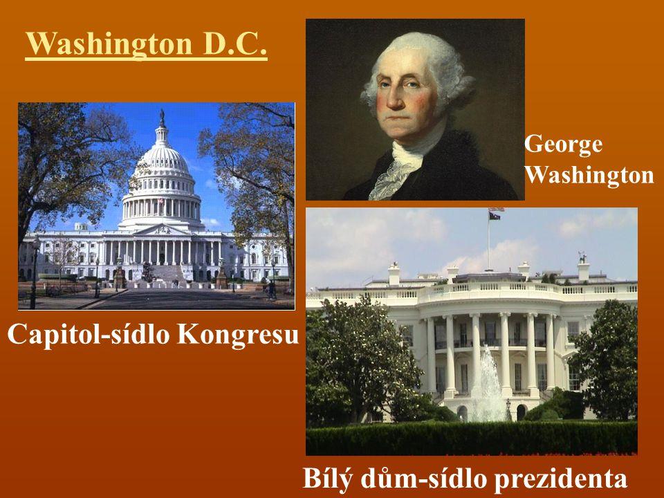 Washington D.C. Capitol-sídlo Kongresu Bílý dům-sídlo prezidenta George Washington