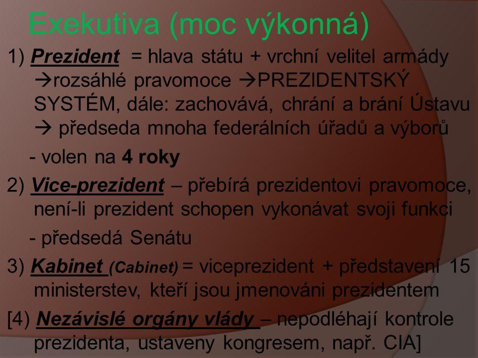 Exekutiva (moc výkonná) 1) Prezident = hlava státu + vrchní velitel armády  rozsáhlé pravomoce  PREZIDENTSKÝ SYSTÉM, dále: zachovává, chrání a brání