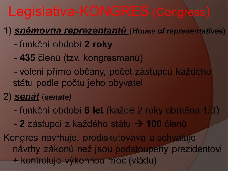 Legislativa-KONGRES (Congress ) 1) sněmovna reprezentantů (House of representatives) - funkční období 2 roky - 435 členů (tzv. kongresmanů) - voleni p