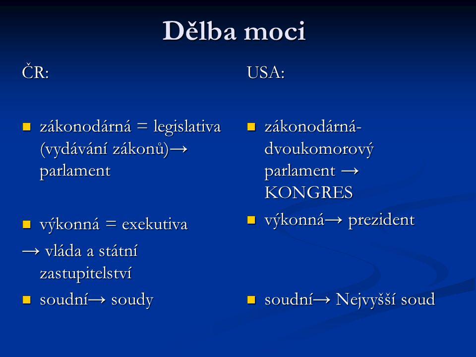 Dělba moci ČR: zákonodárná = legislativa (vydávání zákonů)→ parlament zákonodárná = legislativa (vydávání zákonů)→ parlament výkonná = exekutiva výkon
