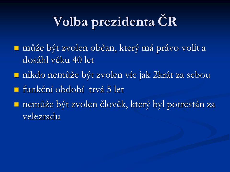 Volba prezidenta ČR může být zvolen občan, který má právo volit a dosáhl věku 40 let může být zvolen občan, který má právo volit a dosáhl věku 40 let